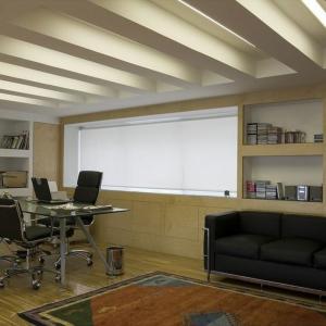 habitación de trabajo con estores enrollables